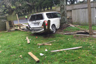 This car smashed through two fences of a property on Hamurana Rd this morning. Photo/Supplied