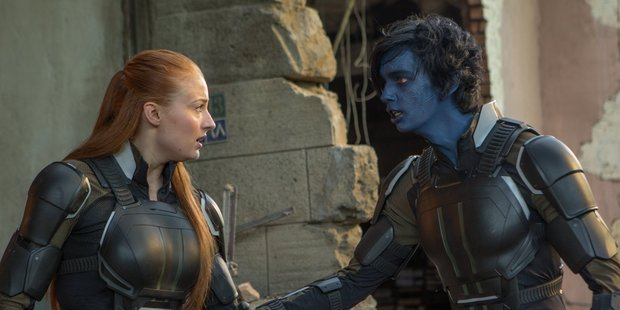 Sophie Turner and  Kodi Smit-McPhee in a scene from the movie X-Men: Apocalypse.