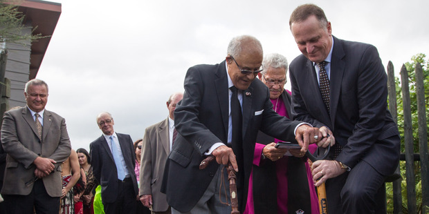 Loading John Key, right, and Pihopa Kingi turning the sod at Te Puia. Photo/Stephen Parker