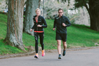 IN TRAINING: Rachel Smalley and Gaz Brown training for tomorrow's Air New Zealand Hawke's Bay International Marathon. PHOTO/Supplied