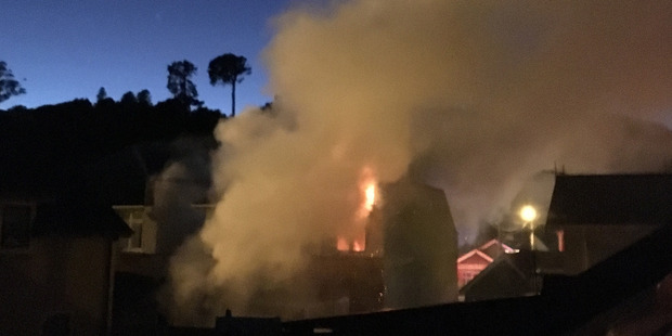 Loading This morning's fire at 660 Castle St in Dunedin. Photo / Supplied