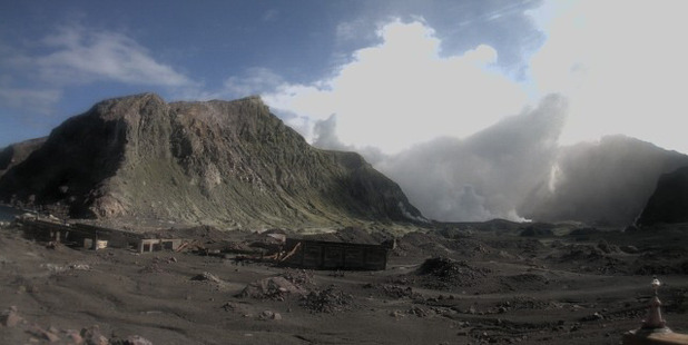 The view of White Island from the crater floor after an eruption on April 27. Photo / GNS Science