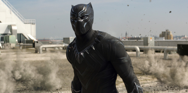 Chadwick Boseman as Black Panther in a scene from Captain America: Civil War.