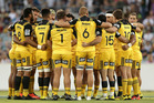Hurricanes players huddle before the round one Super Rugby match between the Brumbies and the Hurricanes. Photo / Getty Images