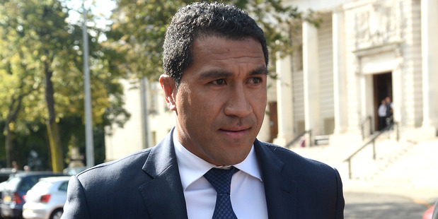 Former New Zealand All Black rugby player Mils Muliaina arrives at Cardiff Crown Court accused of Sexual Assault. Photo / Wales News Service