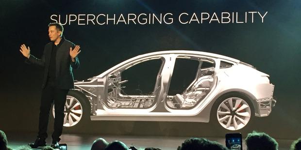 Tesla Motors Inc. CEO Elon Musk speaks at the unveiling of the Model 3 at the Tesla Motors design studio. Photo / AP