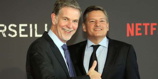 Reed Hastings, left, CEO of Netflix, with Ted Sarandos Chief Content Officer of Netflix, pose in Marseille. Photo / AP