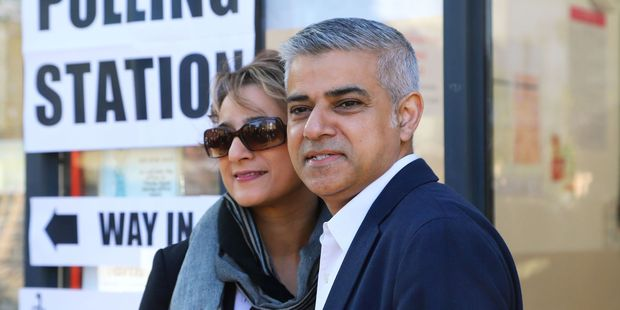 Loading London's newly elected mayor Sadiq Khan pictured with his wife Saadiya, is the first Muslim mayor of a major Western capital. Photo / AP