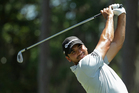 Jason Day, of Australia, hits from the sixth tee during the first round of The Players Championship. Photo / AP.