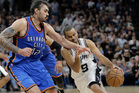 Steven Adams defends Tony Parker during the Thunder's game-five win over the Spurs. Photo / AP