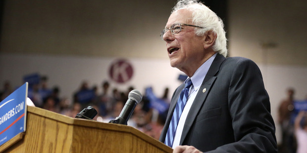 Bernie Sanders speaking during a campaign rally. Photo / Danielle Peterson/Statesman-Journal via AP.