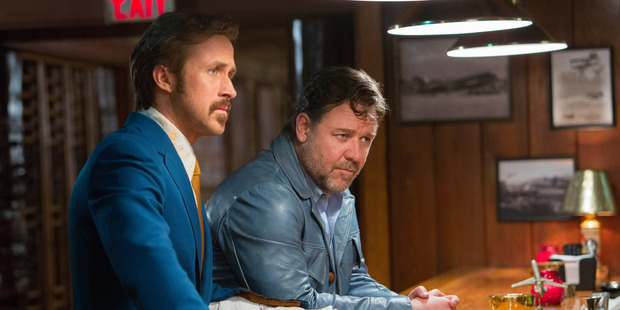 Ryan Gosling as Holland March and Russell Crowe as Jackson Healy in the film The Nice Guys.