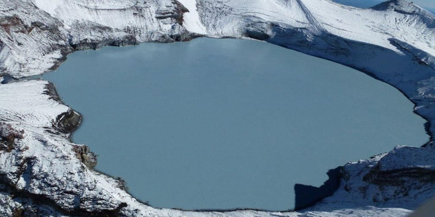 The Ruapehu crater lake in 2013. Photo / Geonet