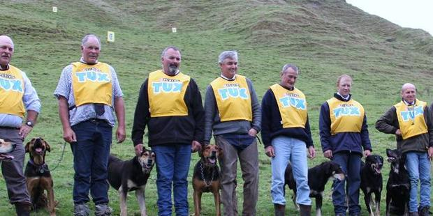 Class 3 finalists at the North Island sheepdog trial championships.