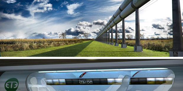 A diagram showing how a Hyperloop transport system could work.