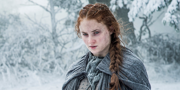 Sophie Turner as Sansa Stark in a scene from the TV show Game of Thrones.