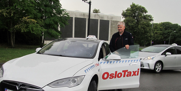 INCENTIVES: Oslo taxi driver Trond Gustav Somme drives an all-electric Tesla, and he says it's ideal for the job.