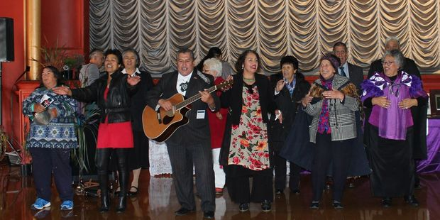 Guests entertain before the official party arrive at the Dannevirke Town Hall on Saturday morning.