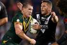 Paul Gallen of the Kangaroos is tackled by Lewis Brown of the Kiwis during the International Rugby League Trans Tasman Test match. Photo / Getty Images
