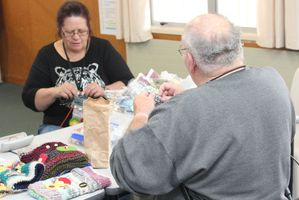 Volunteer Karen Miller takes a weekly knitting class for inmates at Waikeria Prison.  Photo / Danielle Nicholson