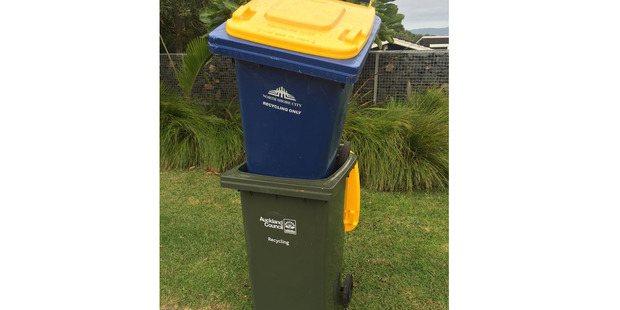 An Auckland resident's twist on recycling bin laden. Photo / Supplied
