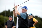Whangarei's John Gordon tees off at the first hole at the Whangarei Golf Course for the Eagles Golfing Society fundraiser tournament for the Halberg Disability Sport Foundation yesterday.  Photo / John Stone