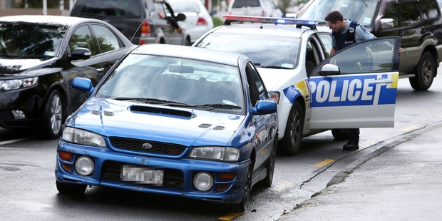 A man being chased by police was brought to a halt by a traffic jam in Whangarei yesterday. Photo / Michael Cunningham