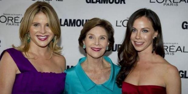 Jenna Bush Hagar (left) Laura Bush and Barbara Bush (right). Photo: Don Emmert/AFP