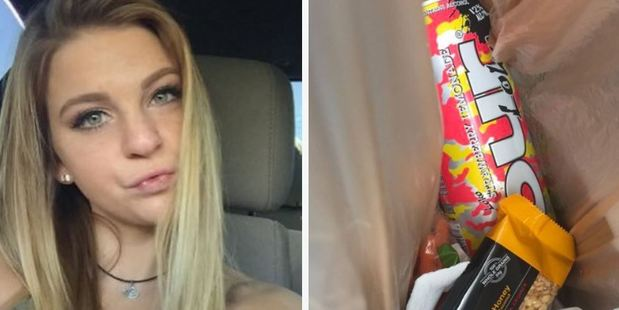 Teenager Kenzie Strange took a pic of her booze-laden lunch, and the tweet has since gone viral. Photo / Twitter/KenzieeStrangee