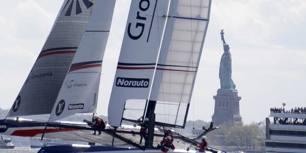 Loading Groupama Team France sails past the Statue of Liberty during Race 2 at the America's Cup World Series sailing event in New York. Photo / AP