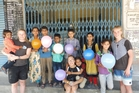 Three childcare centres in India were restored by Iona college students, including head girl Olivia McLeod (left), Kate Karika and Amy Martin, pictured with some children from the town of Palampur.