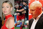 Maria Sharapova, the Highlanders v the Crusaders and Warriors coach Andrew McFadden.