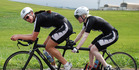Para-cyclist emma Foy (rear) training with sighted cyclist Laura Thompson.