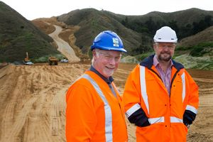 Project manager Tony Dickens and NZ Transport Agency senior project manager Kevin Johnson at Taupiri Pass.