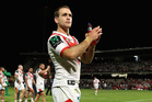 Jason Nightingale of the Dragons thanks fans after the side's win over the Raiders. Photo / Getty
