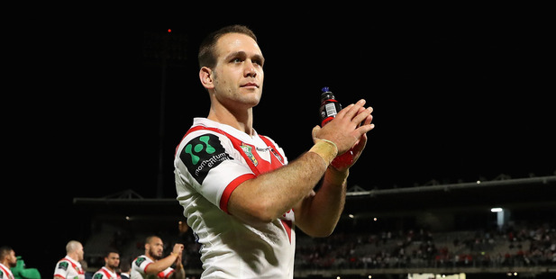 Loading Jason Nightingale of the Dragons thanks fans after the side's win over the Raiders. Photo / Getty