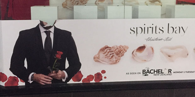 A defaced Bachelor poster outside Michael Hill on Auckland's Queen Street.