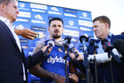 Nathan Peats speaks to the media. Photo / Getty