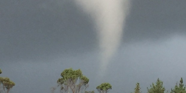 The tornado at Butlers Block, north of Ross yesterday. Photo / Geoff Cook