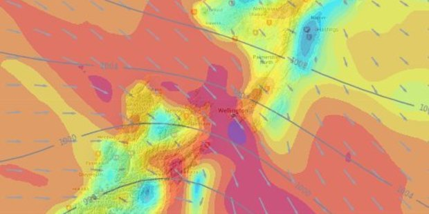 Gales are expected to increase later today through Central NZ. Photo / Weather Watch Twitter