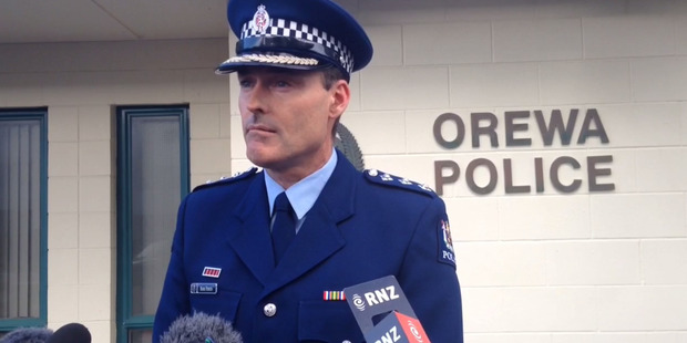 Inspector Mark Fergus holds a press conference at Orewa Police Station in relation to the woman found with serious injuries in the Dome Valley. Photo / File
