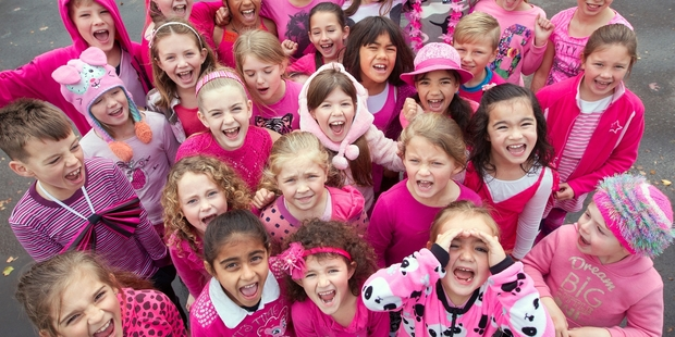 Loading SEEING PINK: St Michael's Catholic School children wore pink for Pink Shirt Day yesterday to take action against bullying. PHOTO/BEN FRASER