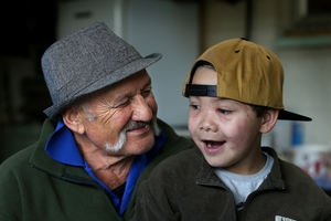 HAPPY TOGETHER: Graham Hartley and grandson Tainui Hartley-Whareaorere enjoying each other's company.PHOTO/JOHN BORREN
