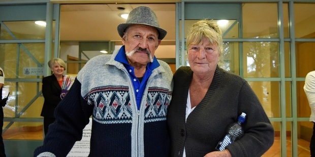 Graham and Marlene Hartley outside Tauranga District Court after Mr Hartley was discharged without conviction for owning a dog that caused an injury. Photo/George Novak