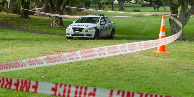 Police at the scene of an assault in Kuirau Park this year.