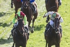 Storming The Tower, left, storms home to beat Gentil Tonton in the $75, 000 Rotorua Cup. Photo / NZME