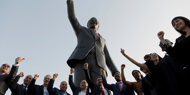 A sculpture of the first democratically elected South African president and anti-apartheid leader Nelson Mandela, in the West Bank city of Ramallah. Photo / AP