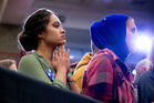 Members of the audience listen as Democratic presidential candidate Hillary Clinton speaks in Lexington, Kentucky. Photo / AP