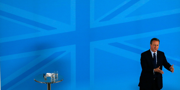 Britain's Prime Minister David Cameron addresses members of a World Economic Forum. Photo / AP