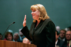 Allison Eid is sworn in as a justice of the Colorado Supreme Court in Denver. Photo / AP